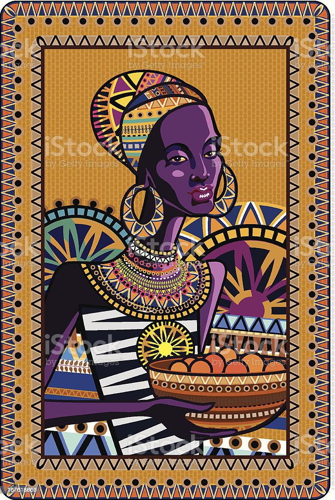 ornament with an African woman in traditional costume royalty-free stock vector art