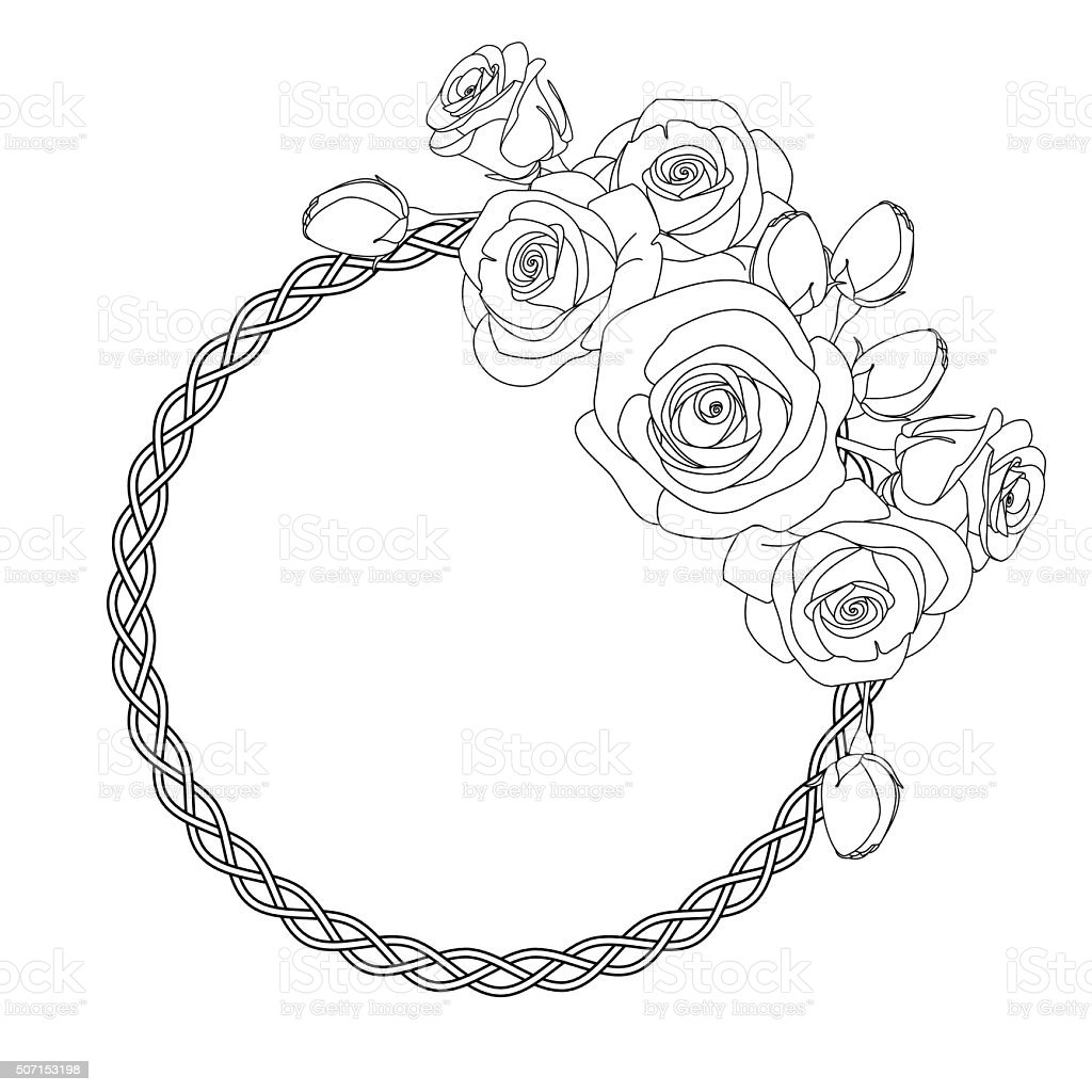 ornament with celtic motive and roses antistress coloring page for