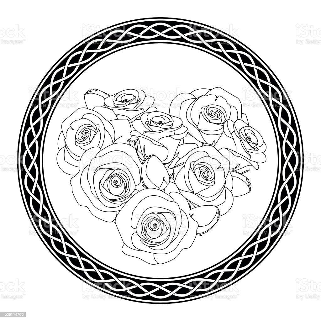 ornament with celtic motive and roses, antistress coloring page for vector art illustration