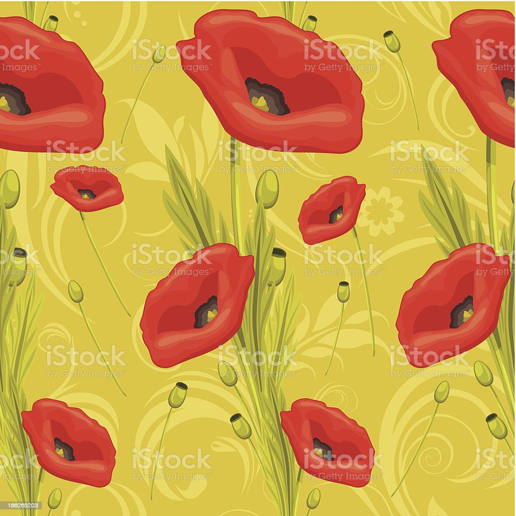 Ornamental background with red poppies vector art illustration