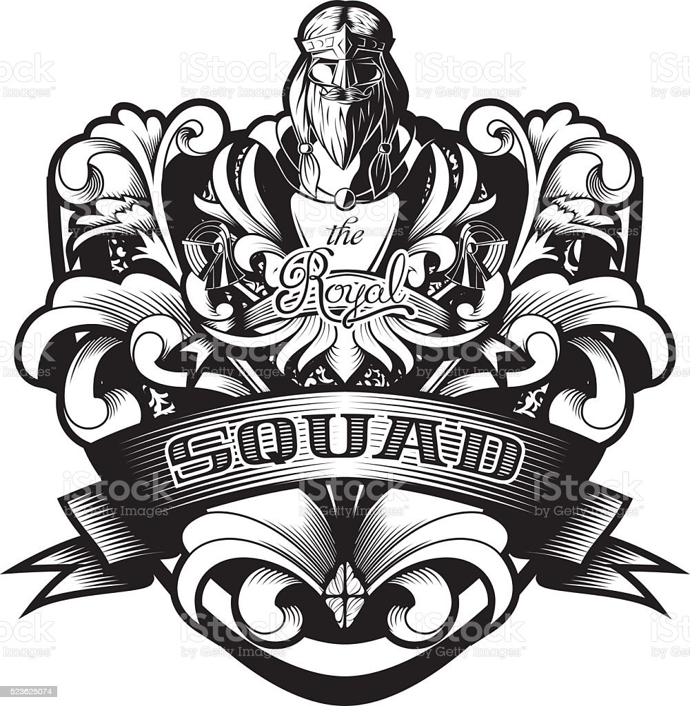 Ornamental Baroque Heraldry Shield 'Royal Squad' vector art illustration