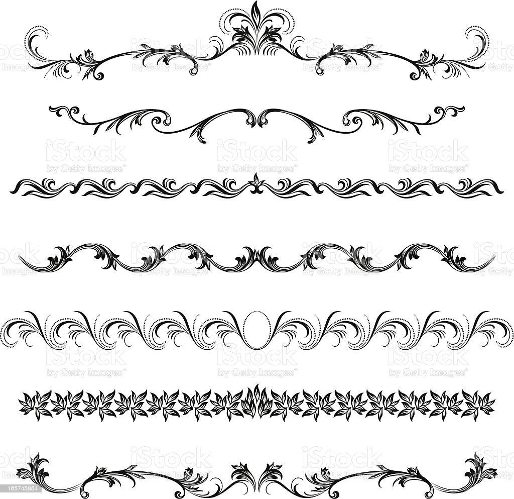 Ornamental Border Designs vector art illustration