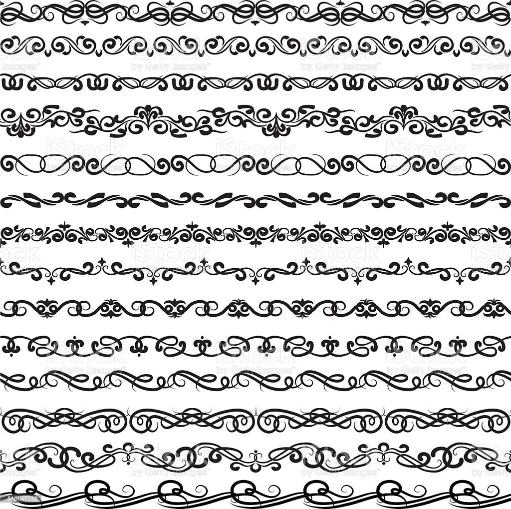 Ornamental borders vector art illustration