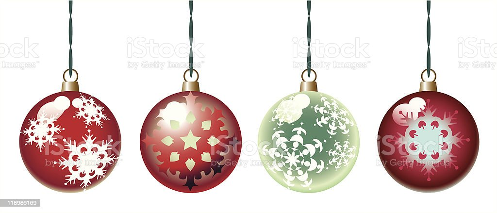 ornamental christmas balls vector art illustration