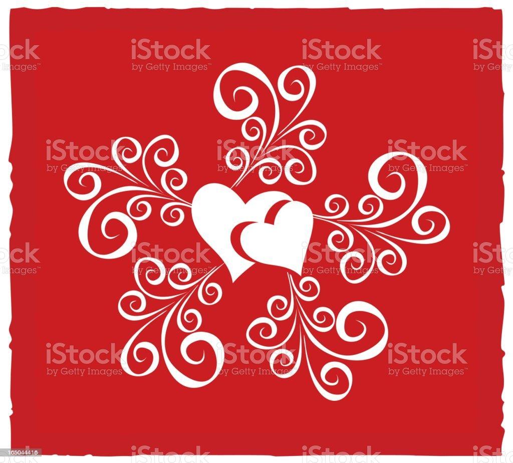 Ornamental couple of hearts royalty-free stock vector art