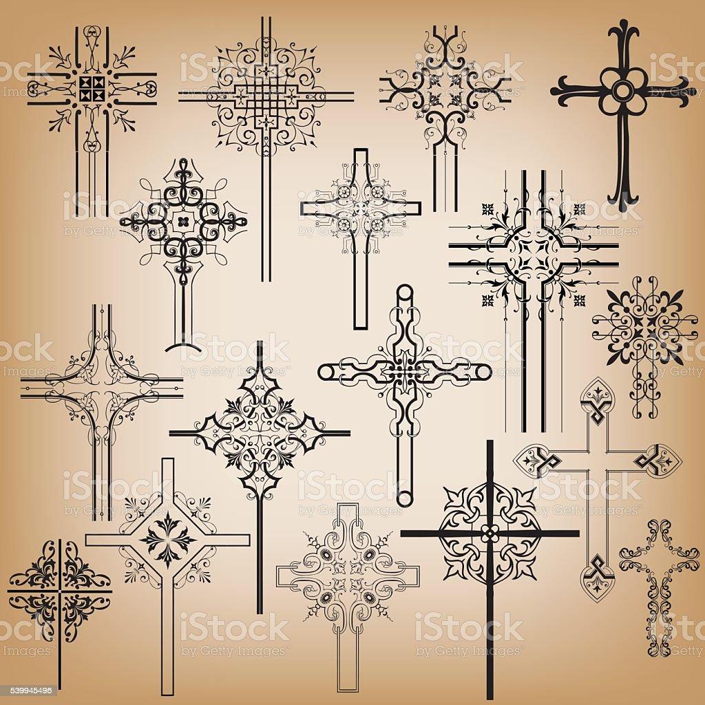 Ornamental Crosses vector art illustration