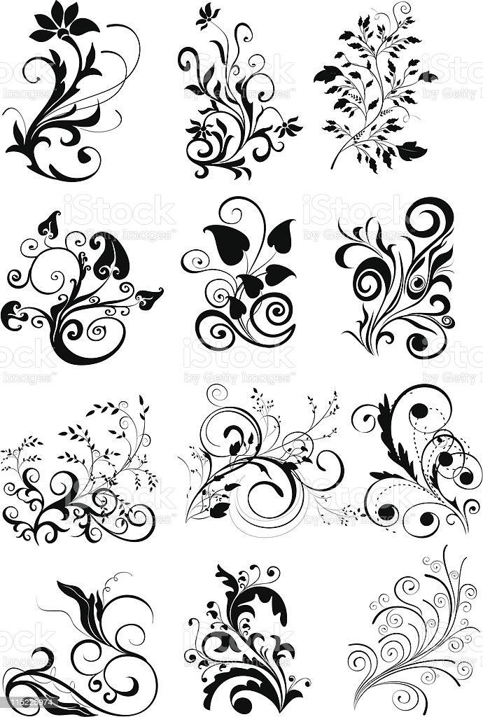 ornamental design elements vector art illustration