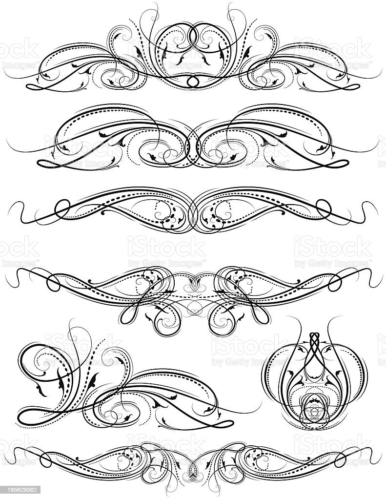Ornamental Divider Set hand engraved scrolls and leaves royalty-free stock vector art