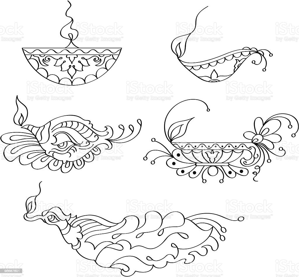 Ornamental diya stock vector art 96687601 istock for Agal vilakku decoration