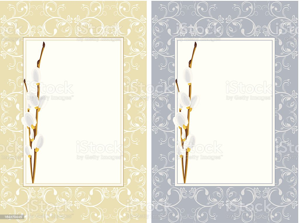 Ornamental frames with willow branches royalty-free stock vector art