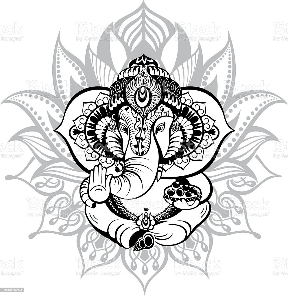 Ornamental God Ganesha vector art illustration