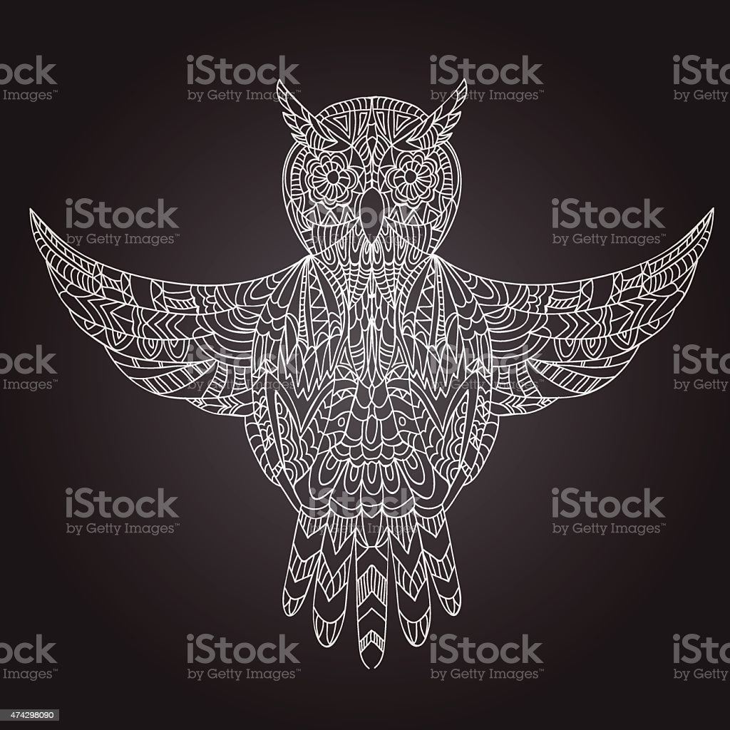 Ornamental hand-drawn owl vector art illustration