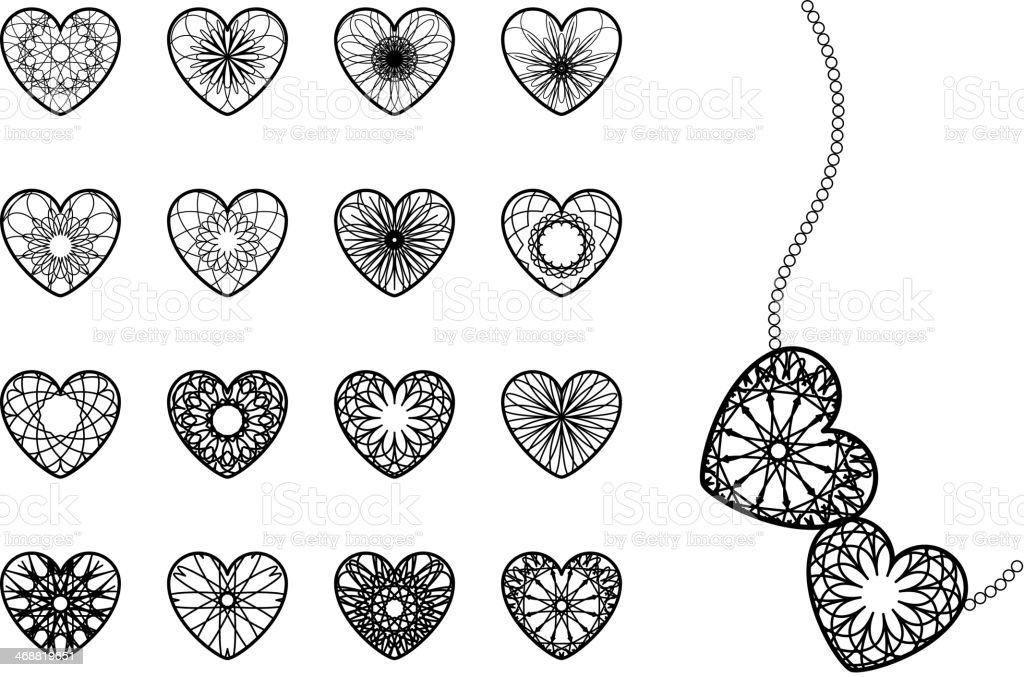 Ornamental Heart Symbols royalty-free stock vector art