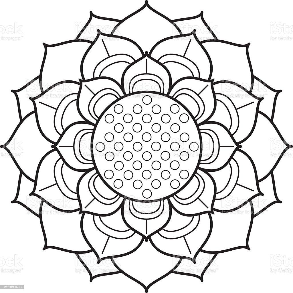Ornamental lotus flower drawing vector art illustration