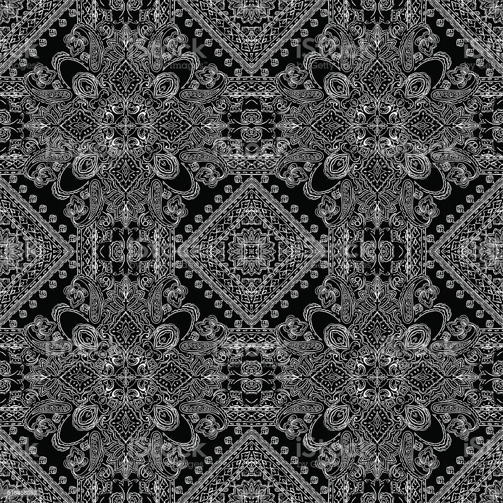 Ornamental paisley pattern vector art illustration