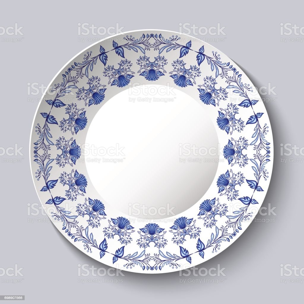 Ornamental porcellaneous plate with a blue pattern in ethnic style Chinese painting on porcelain or Russian style Gzhel. vector art illustration