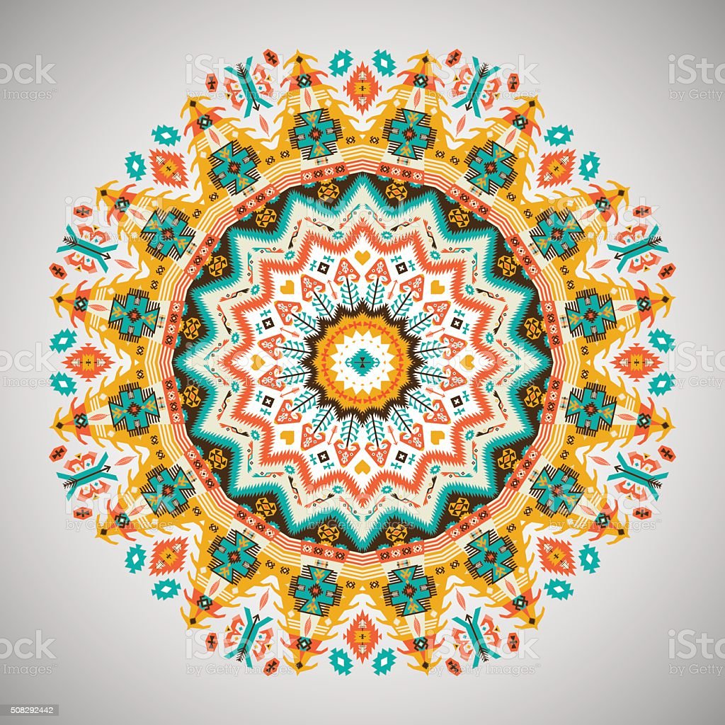 Ornamental round geometric pattern in aztec style vector art illustration