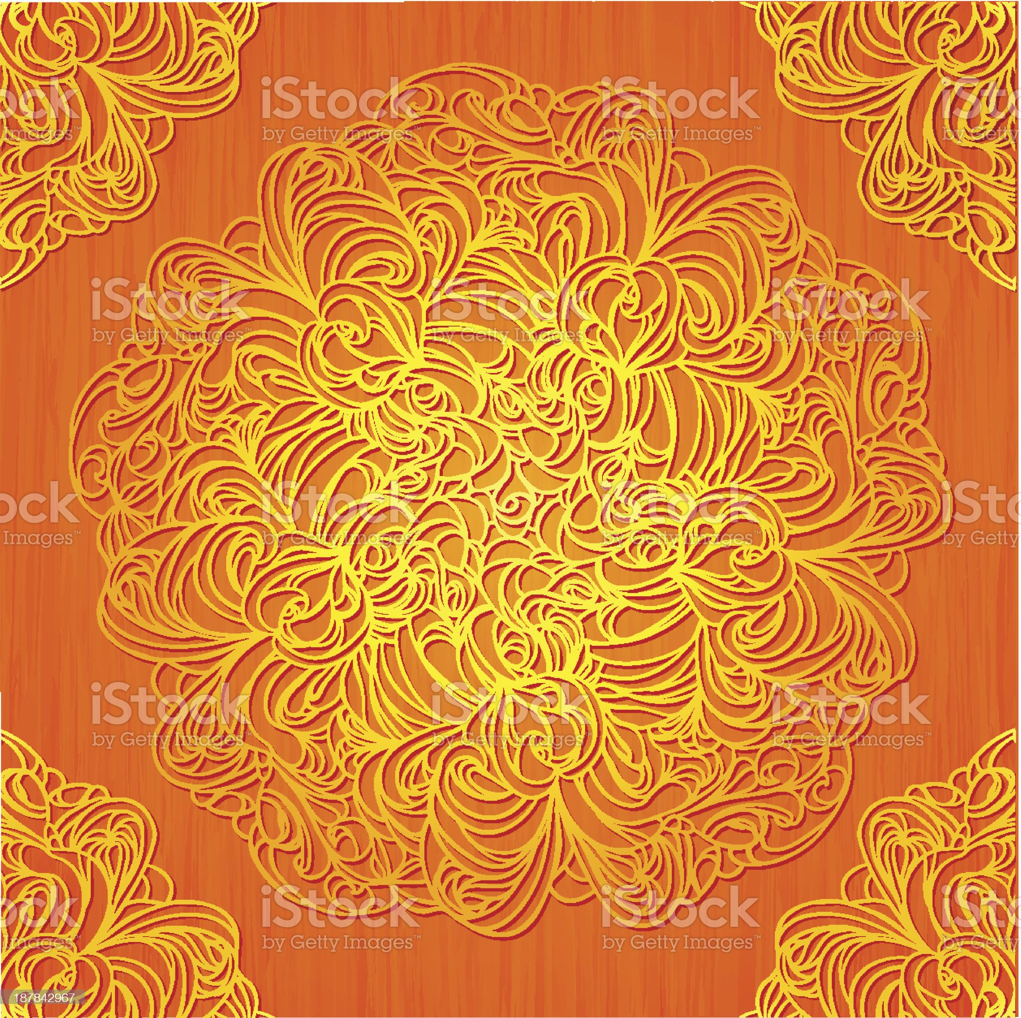 Ornamental round lace decor on grunge background. royalty-free stock vector art