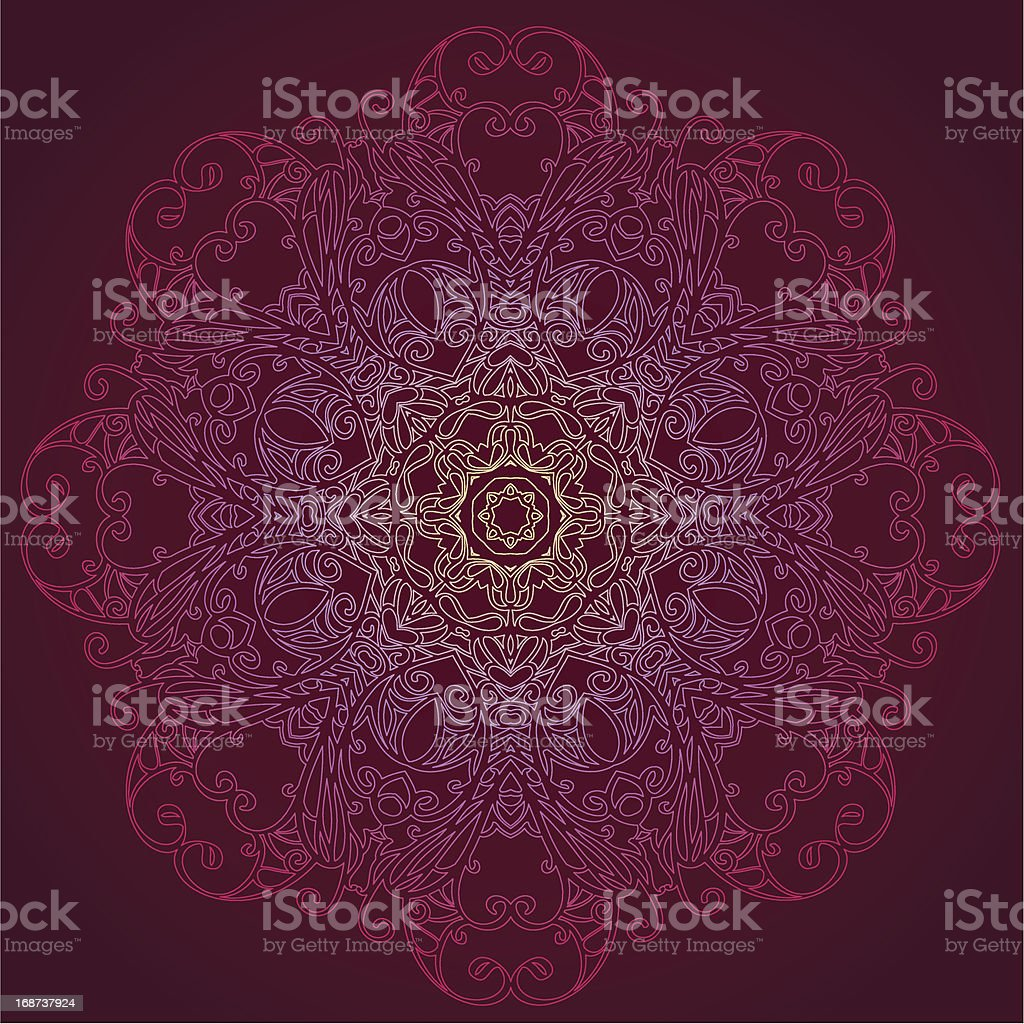 Ornamental round lace floral pattern royalty-free stock vector art