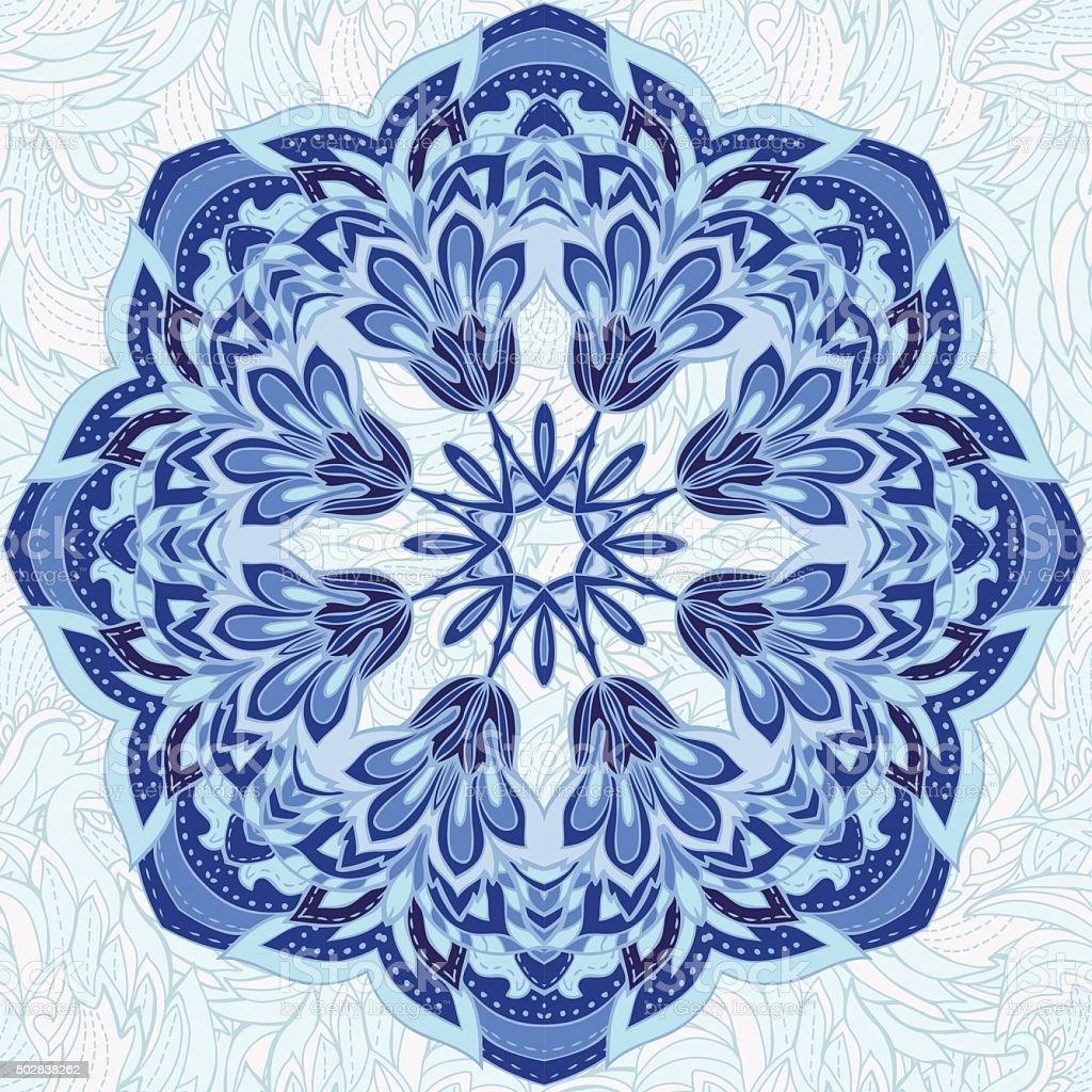 Ornamental round lace pattern vector art illustration