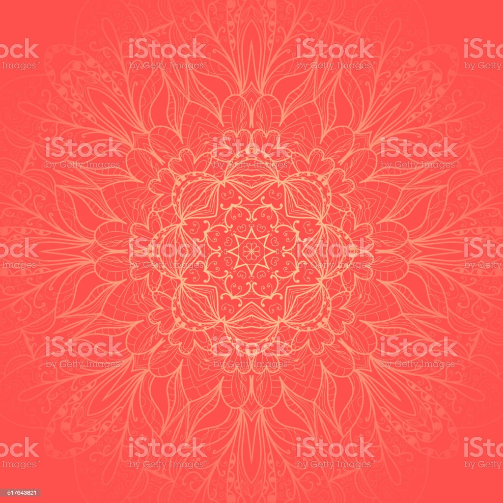 Ornamental round lace pattern vector art illustration