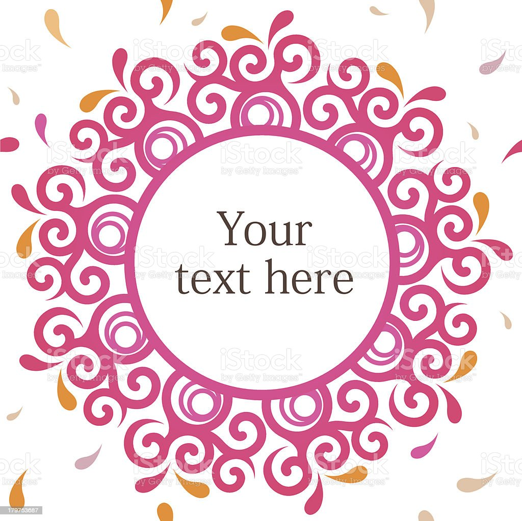 Ornamental round pink frame royalty-free stock vector art