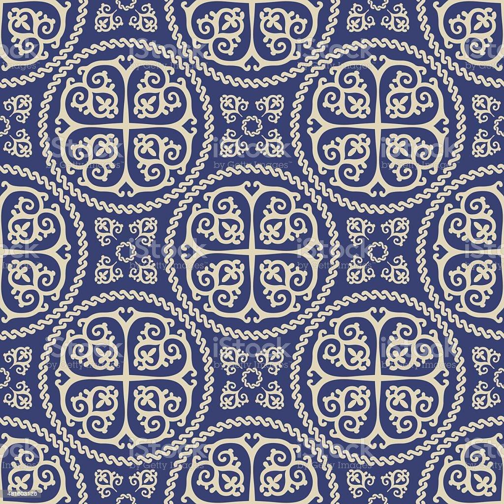 Ornamental seamless byzantine art style pattern. Abstract background vector art illustration