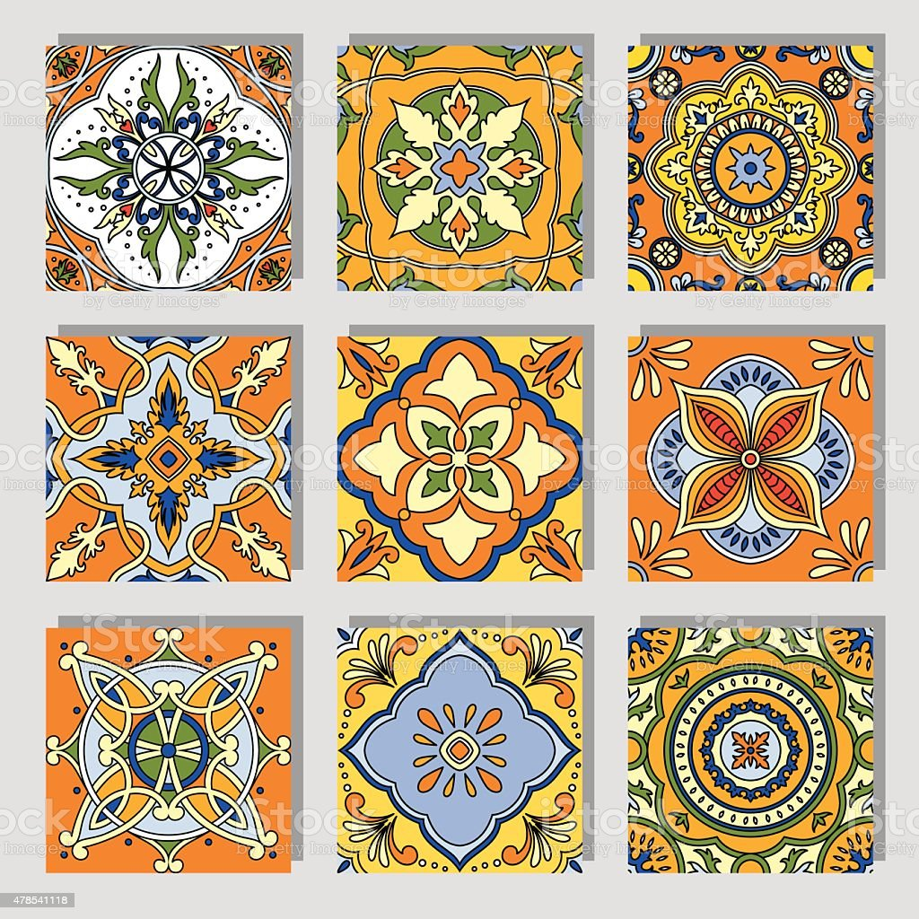 Ornamental tile vector art illustration