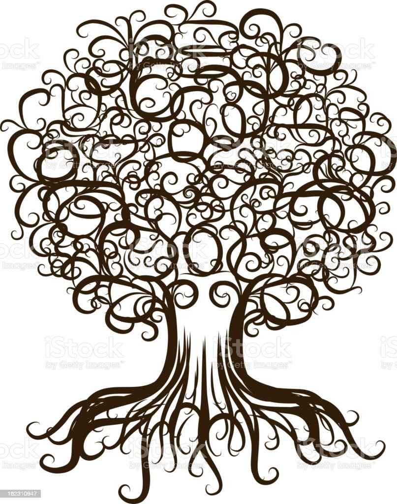 Ornamental tree with roots for your design royalty-free stock vector art