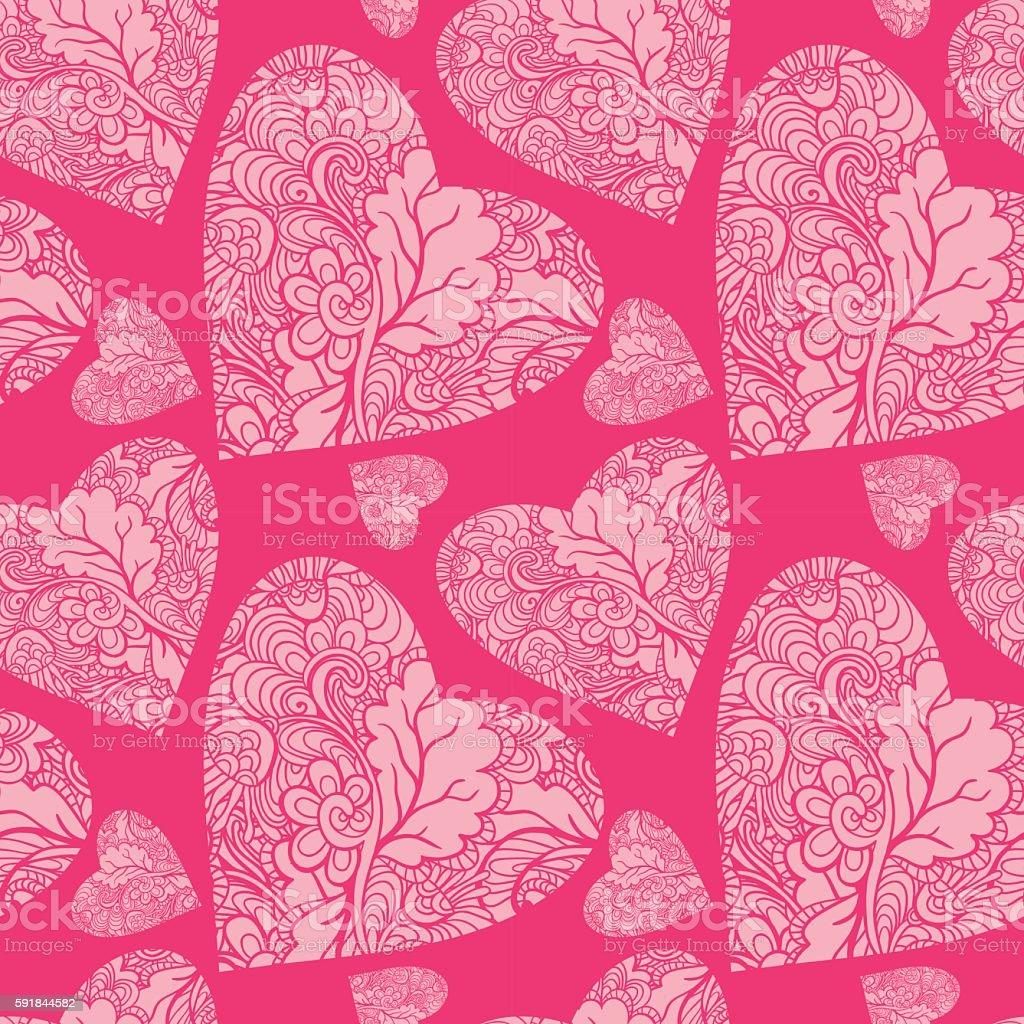 Ornamental vector hearts vector art illustration