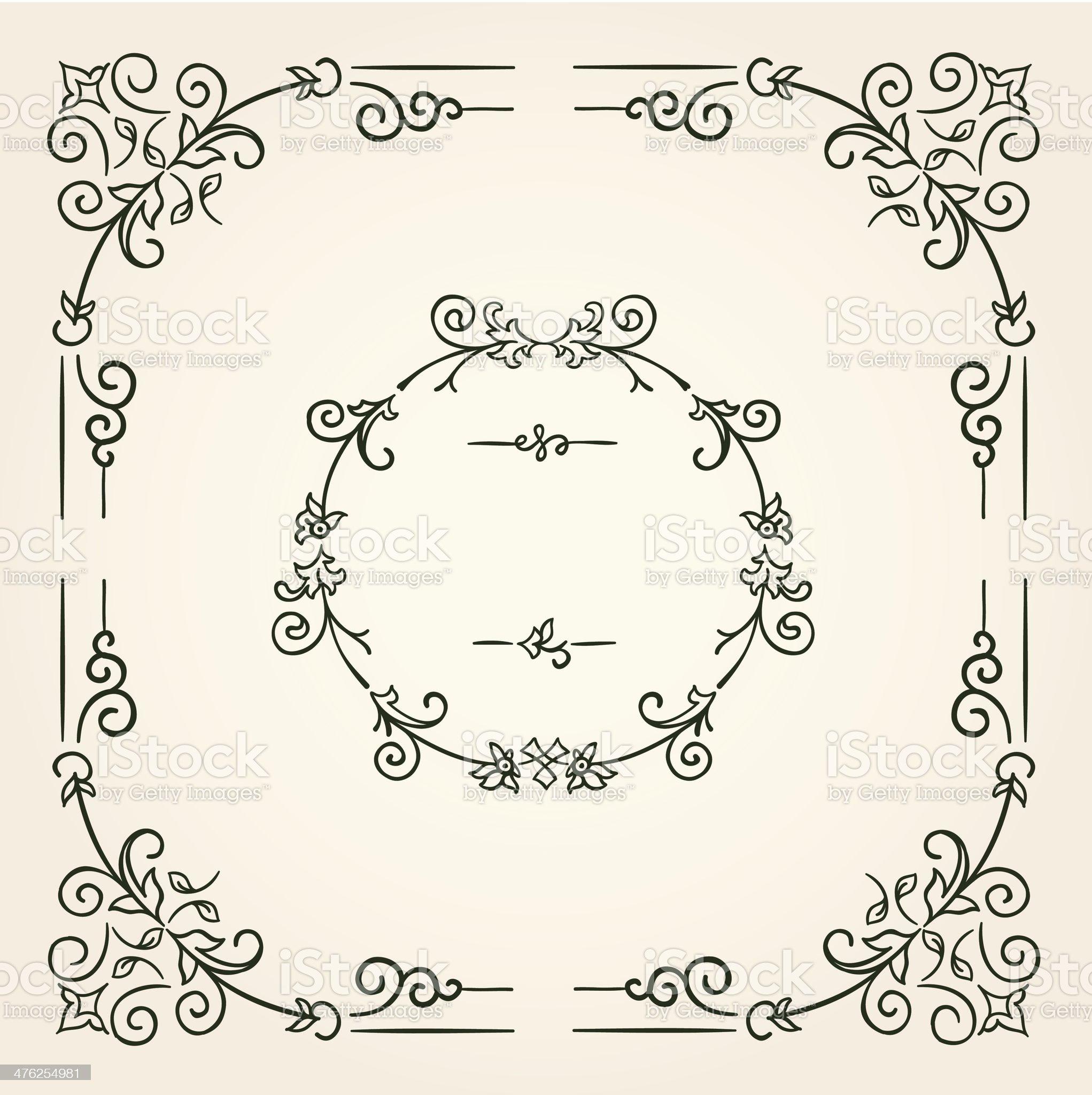 Ornamental vintage rectangular border frame royalty-free stock vector art