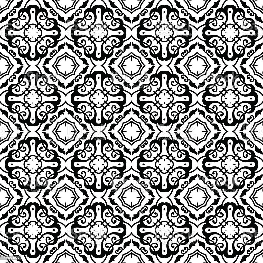 Ornamental wallpaper pattern vector art illustration
