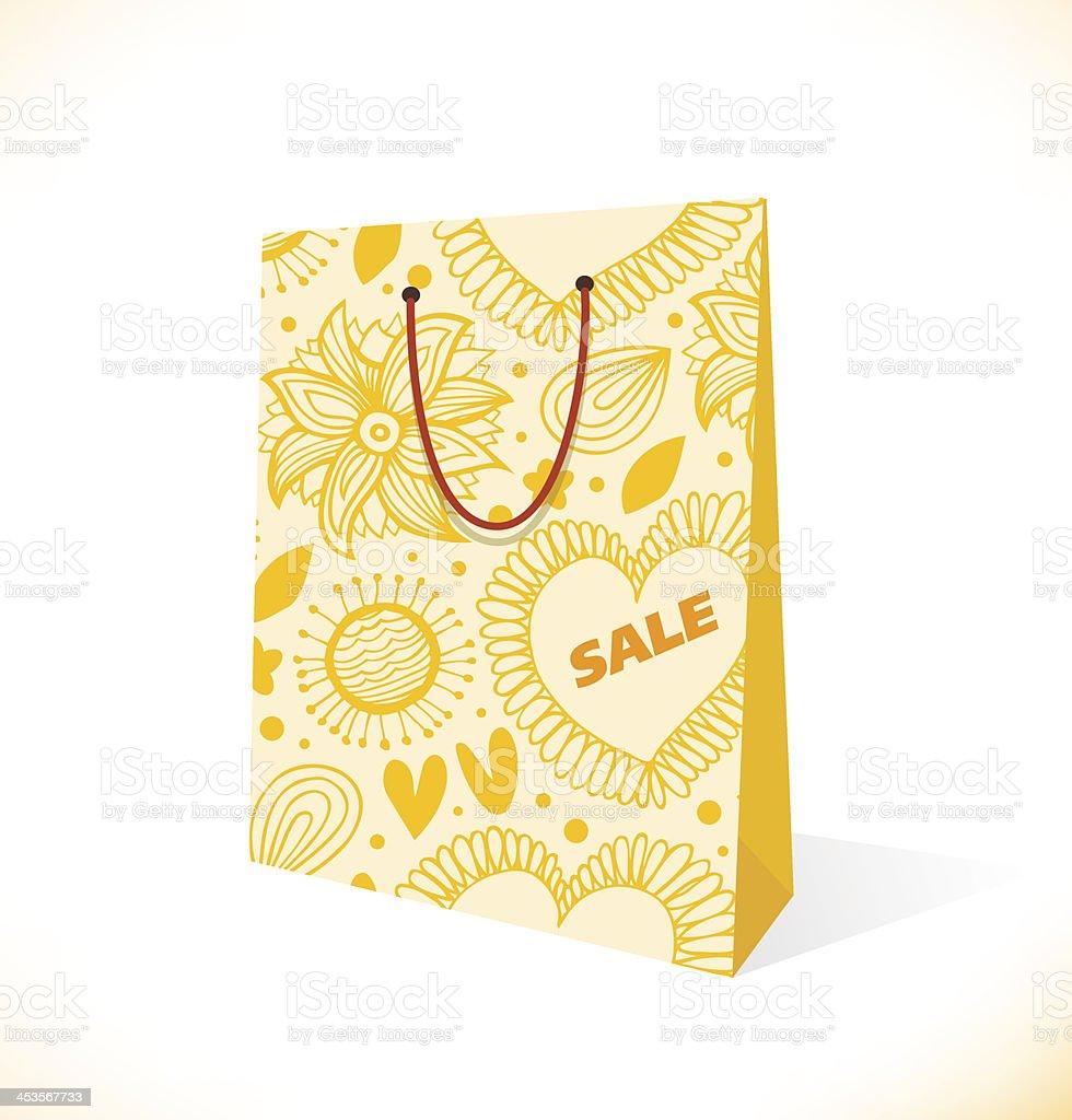 Ornamental yellow paper-bag royalty-free stock vector art
