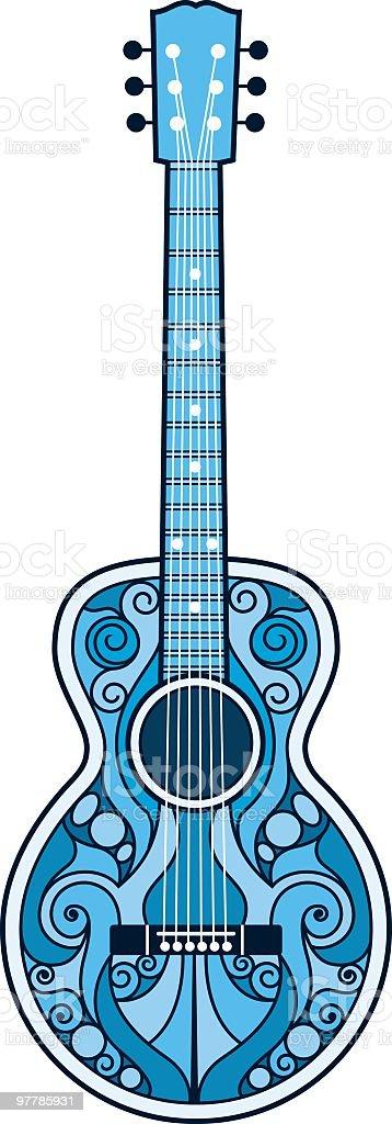 Ornamented Blues Guitar vector art illustration