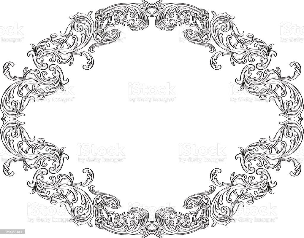 Bilderrahmen verzieren ornamente  Verzierte Acanthus Ornament Rahmen Vektor Illustration 489982154 ...