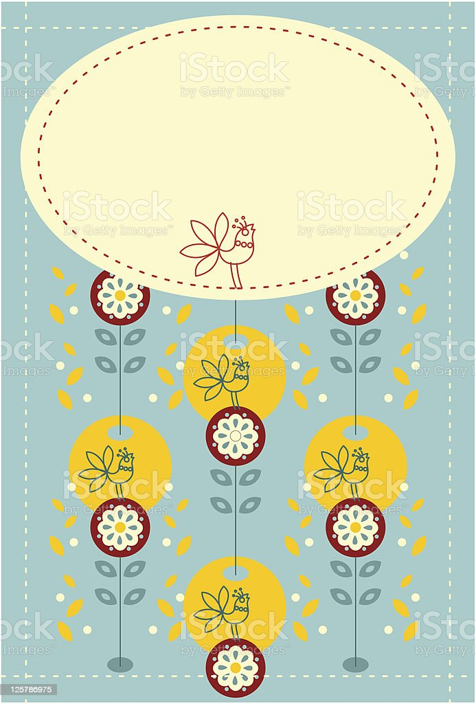 Ornate banner with bird royalty-free stock vector art