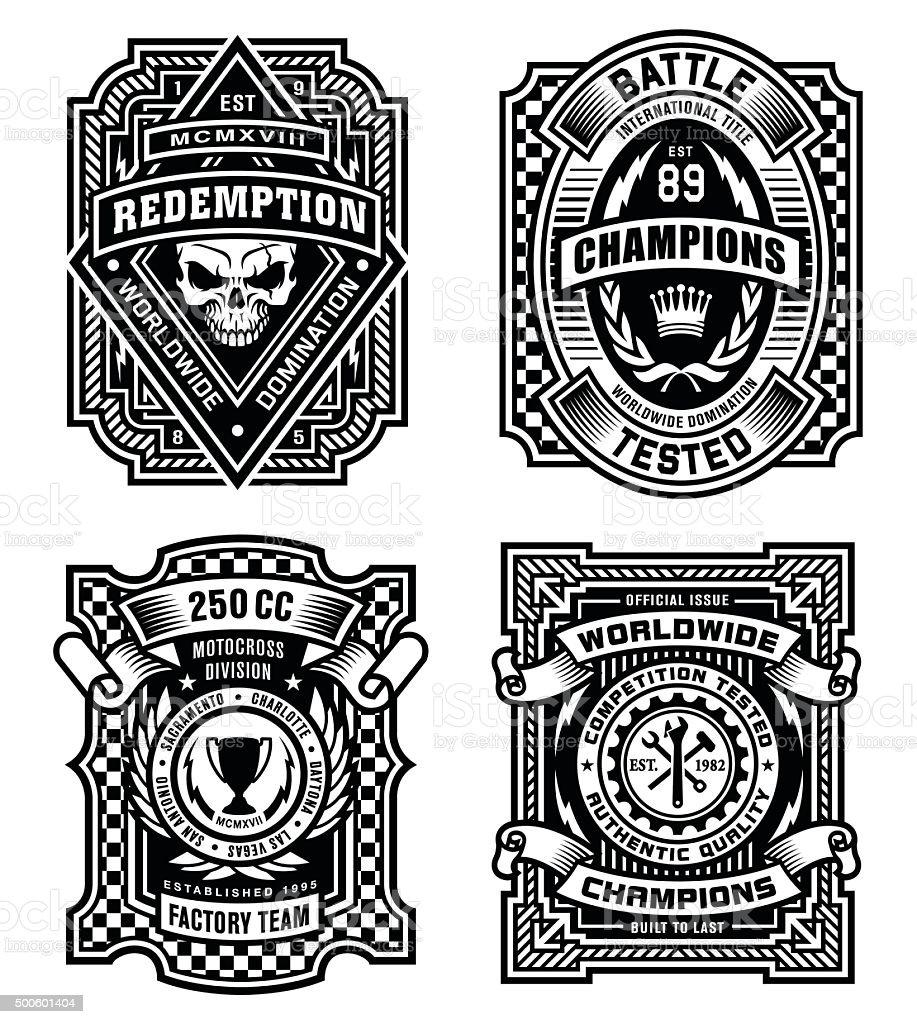 Ornate black and white emblem graphic design set vector art illustration