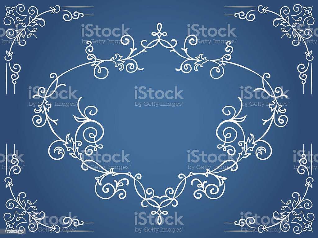 Ornate blue cartouche with filigree frame royalty-free stock vector art