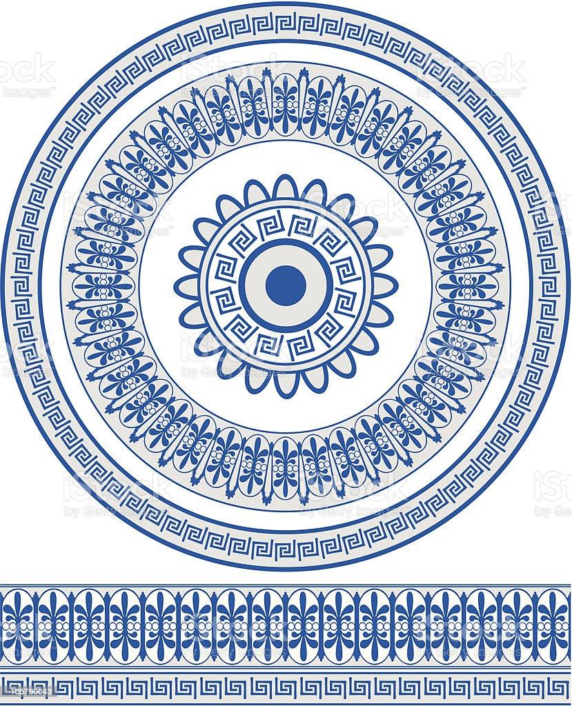 Ornate blue Greek style circular pattern and border royalty-free stock vector art