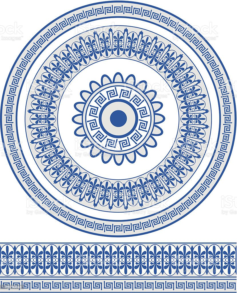 Ornate blue Greek style circular pattern and border vector art illustration