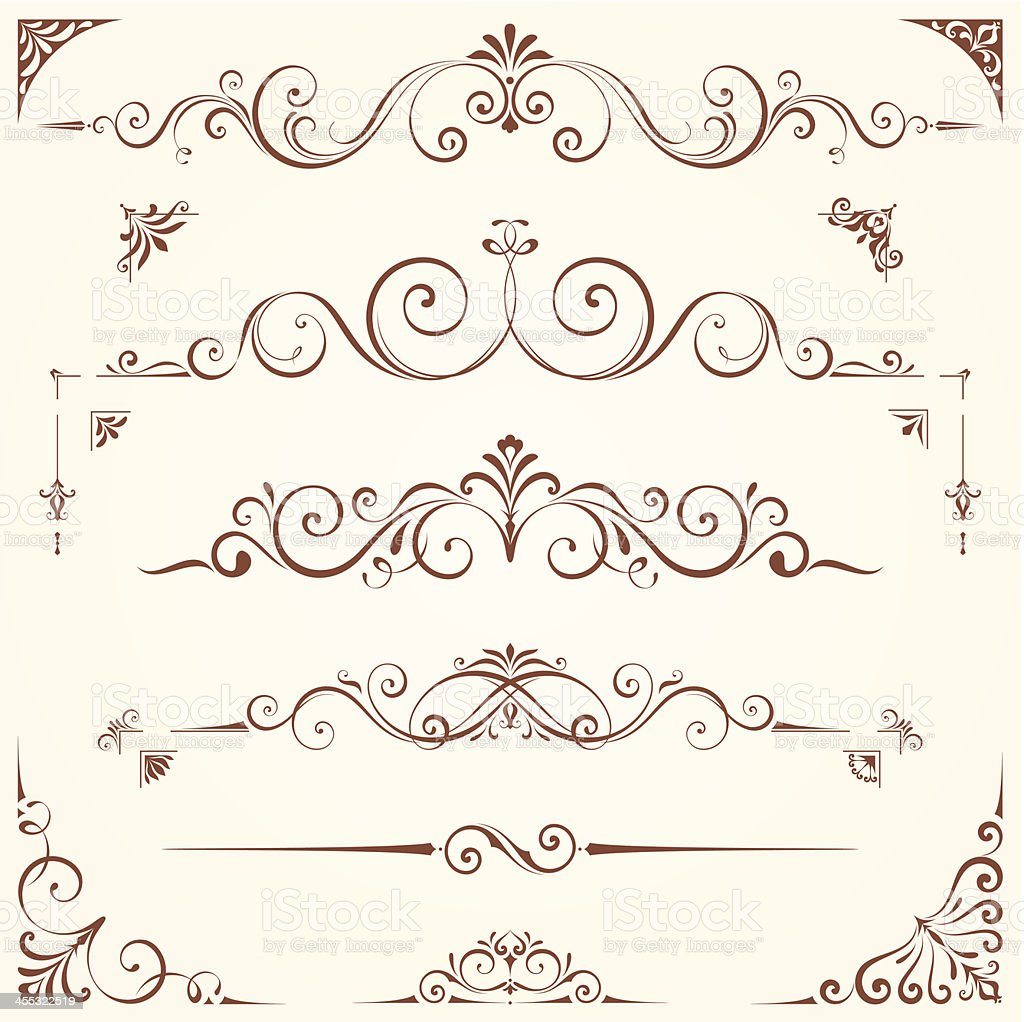 Ornate border line calligraphy set royalty-free stock vector art