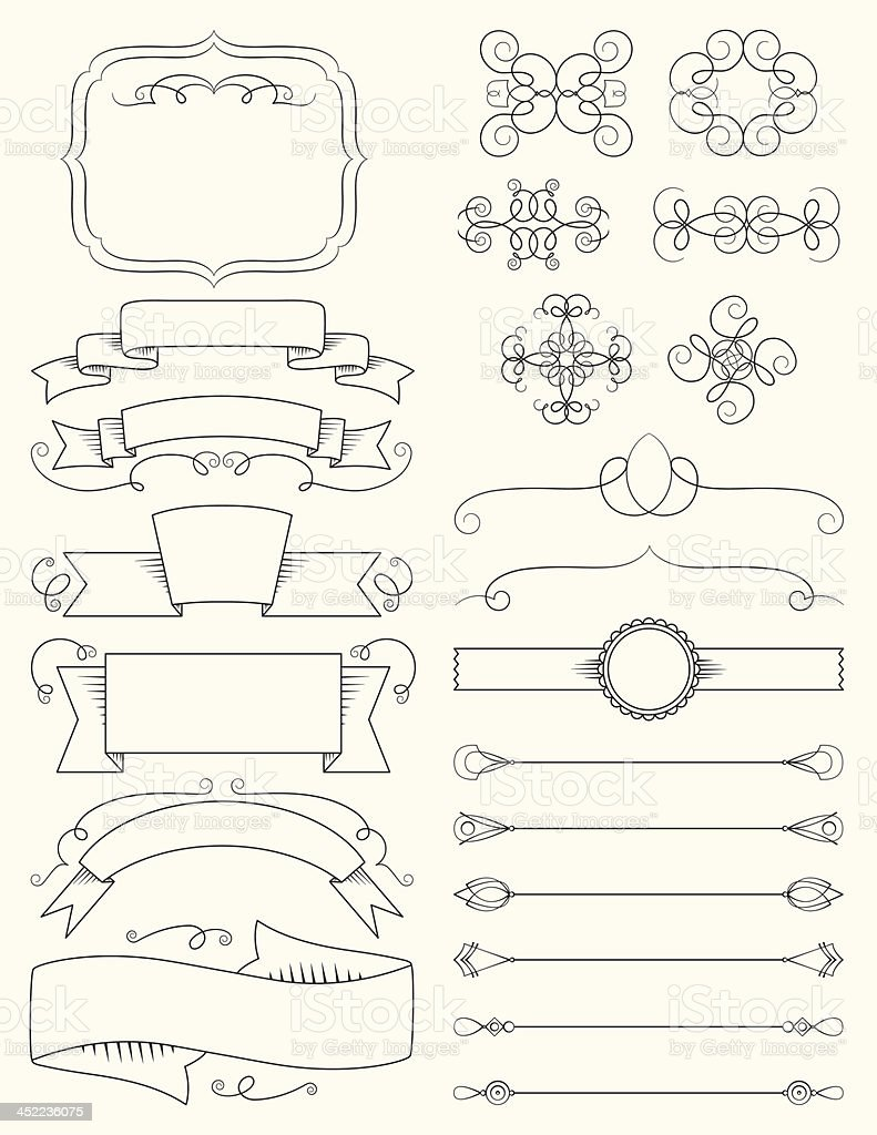 Ornate calligraphy design elements royalty-free stock vector art