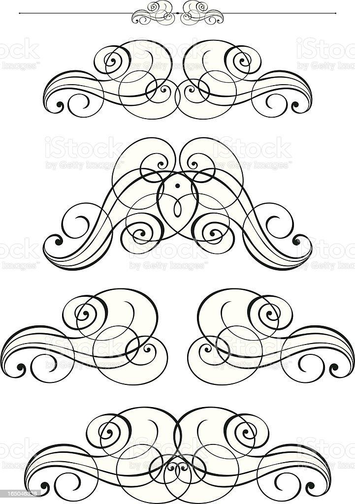 Ornate Calligraphy Pen Scrolls royalty-free stock vector art