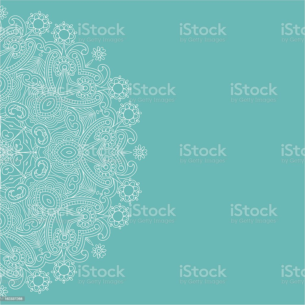 Ornate card with circle ornament vector art illustration