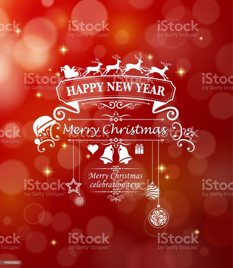 ornate christmas greeting vector art illustration