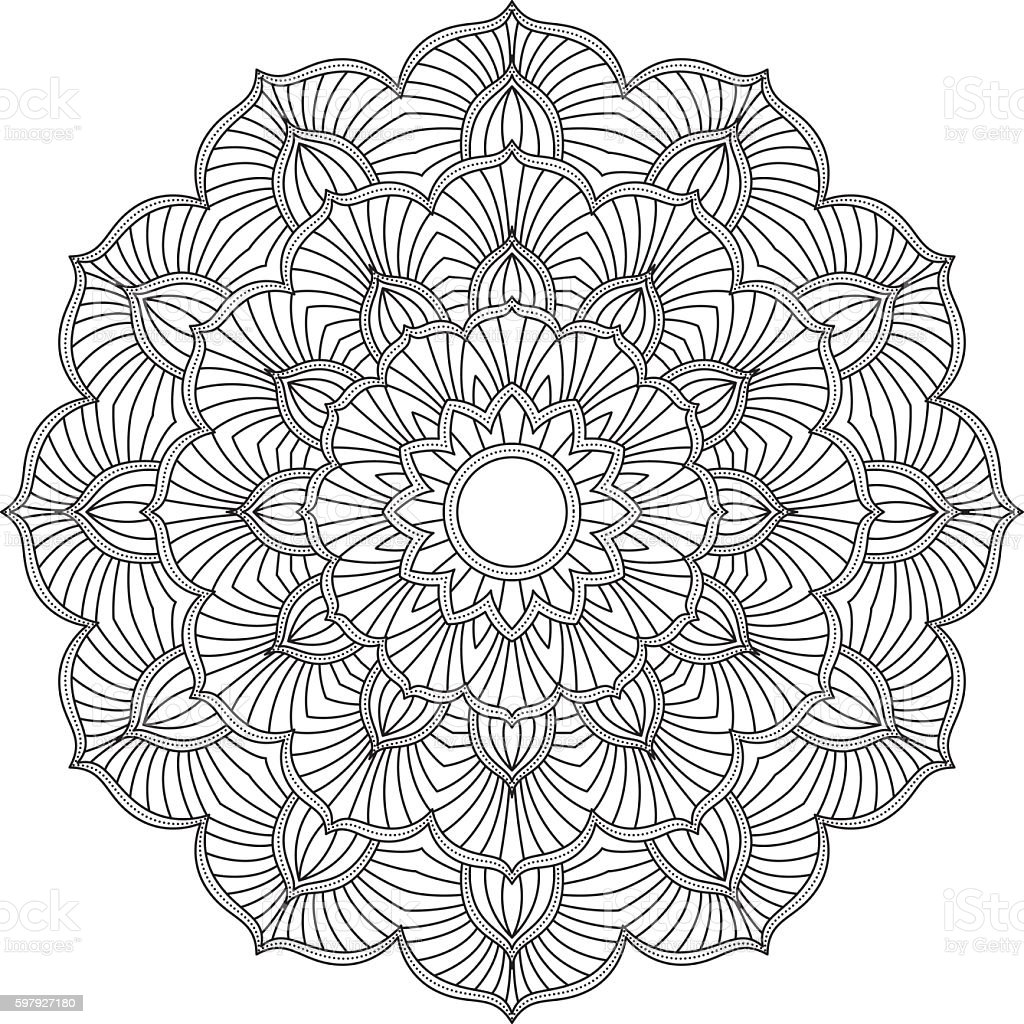 Ornate Circular Mandala Design, Black and White Line Art vector art illustration