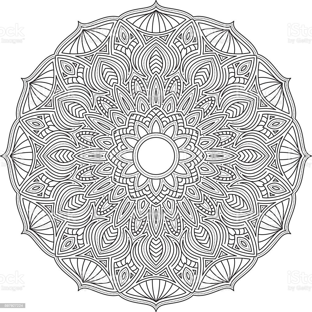 Ornate Circular Mandala Design, Black and White Line Art vector art illustration
