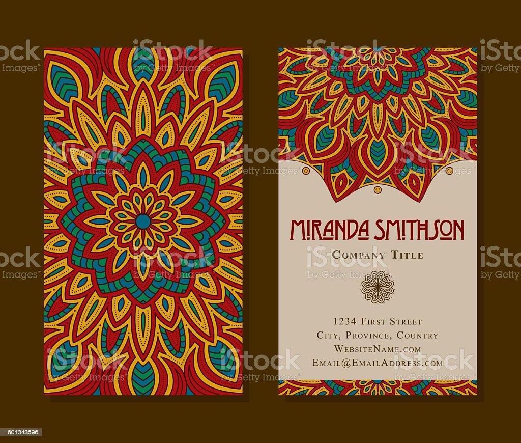 Ornate Circular Mandala Multicolored Business Card Designs vector art illustration