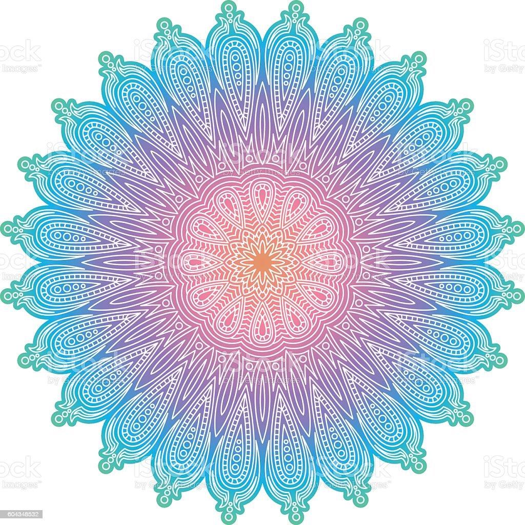 Ornate Circular Mandala Multicolored Designs vector art illustration