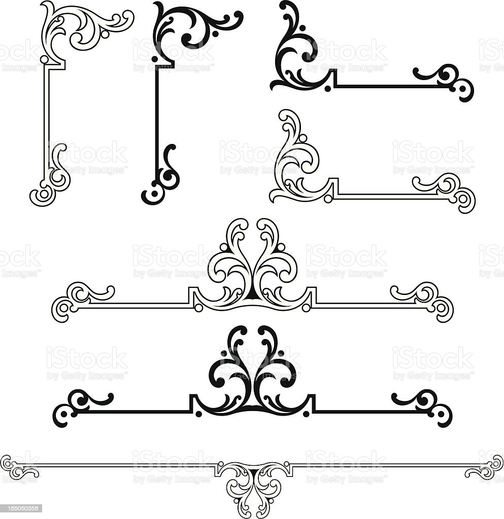 Ornate Corner and centre scrolls royalty-free stock vector art